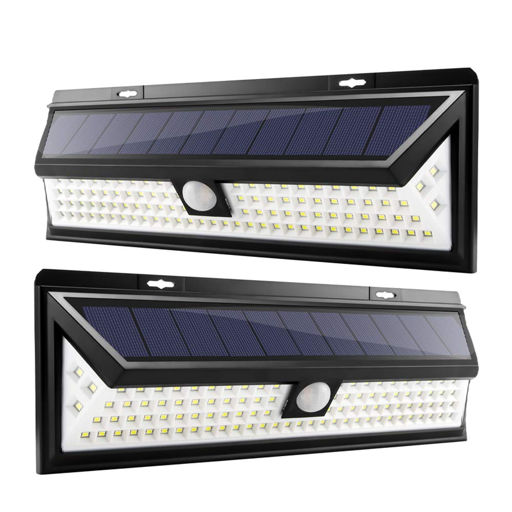 102 LED Solar Lights Outdoor, Houkiper Enhanced IP65 Waterproof Wireless Solar Security Motion Sensor Lights with 270 Wide Angle, 3 Lighting Modes for Front Door, Yard, Garage 2 Pack