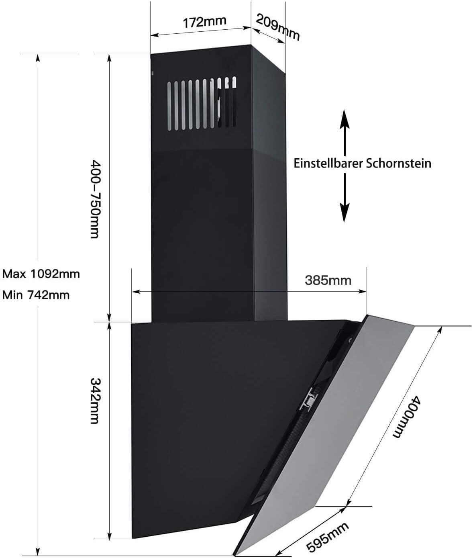 3 Leistungsstufen Energieklasse A+ Schwarz Wandhaube Abzugshaube abluft//umluft 700m/³//h TouchSelect Sensortasten Aluminium Fettfilter TopStrong Dunstabzugshaube 60cm kopffrei LED-Beleuchtung