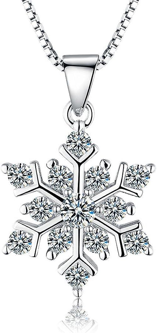 ROTY 45 CM Schneeflocken 925 Sterling Silber Kette Damen Halskette Schmuck Anhänger, Geburtstagsgeschenke Muttertagsgeschenke Weihnachtsgeschenke