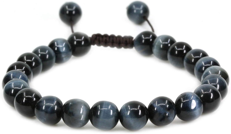 Amandastone Cuentas redondas hechas a mano de 8 mm, ajustables, trenzadas, con borlas de macramé, chakra reiki, pulseras unisex de 17,78 cm a 22,86 cm