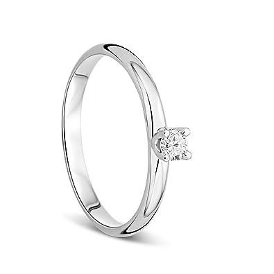 codice promozionale a6533 f80d1 Orovi Anello Donna Solitario in Oro Bianco con Diamante Taglio Brillante Ct  0.10 Oro 9 Kt/375