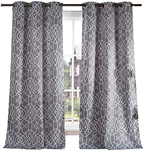 Lala Bash Geometric Blackout Room Darkening Thermal Insulated Grommet Window Curtain Pair Panel Drapes for Living Room, Bedroom, Kids Room, Children, Nursery – Set of 2 Panels – 38 x 84 inch – Grey