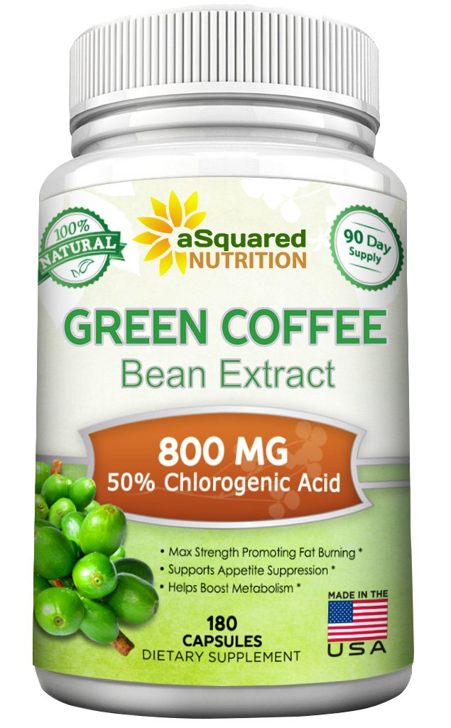 100% Pure Green Coffee Bean Extract - 180 Capsules - Max Strength Natural GCA Antioxidant Cleanse for Weight Loss, 800mg w/ 50% Chlorogenic Acid per Pill, 1600mg Daily Supplement, Healthy Fat Burner by aSquared Nutrition