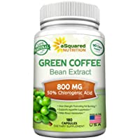 100% Pure Green Coffee Bean Extract - 180 Capsules - Max Strength Natural GCA Antioxidant...