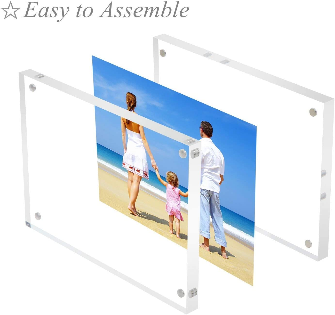 JLP Clear Acrylic Photo Frame Magnetic Plexiglass Store Sign Holder Double Sided Display 3.5x5