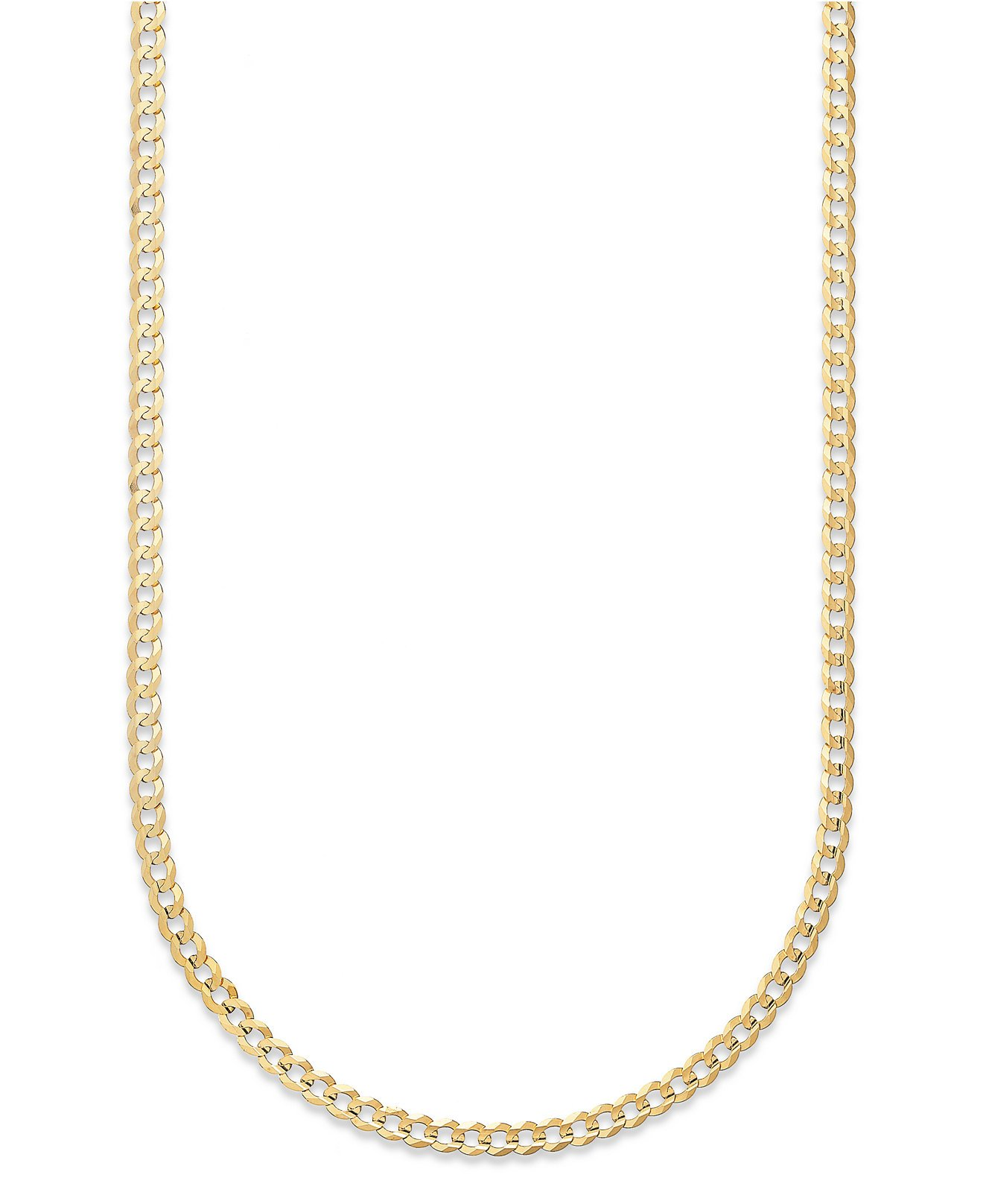 14K Solid Yellow Gold 1.5mm Cuban Curb Link Chain Necklace- Made in Italy- 22''