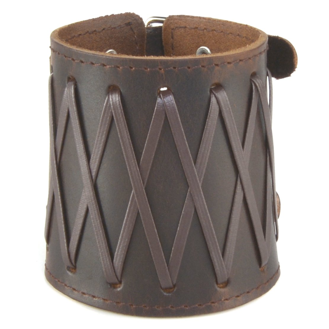 Men's Handcrafted Brown Leather Cuff Wristband Pair