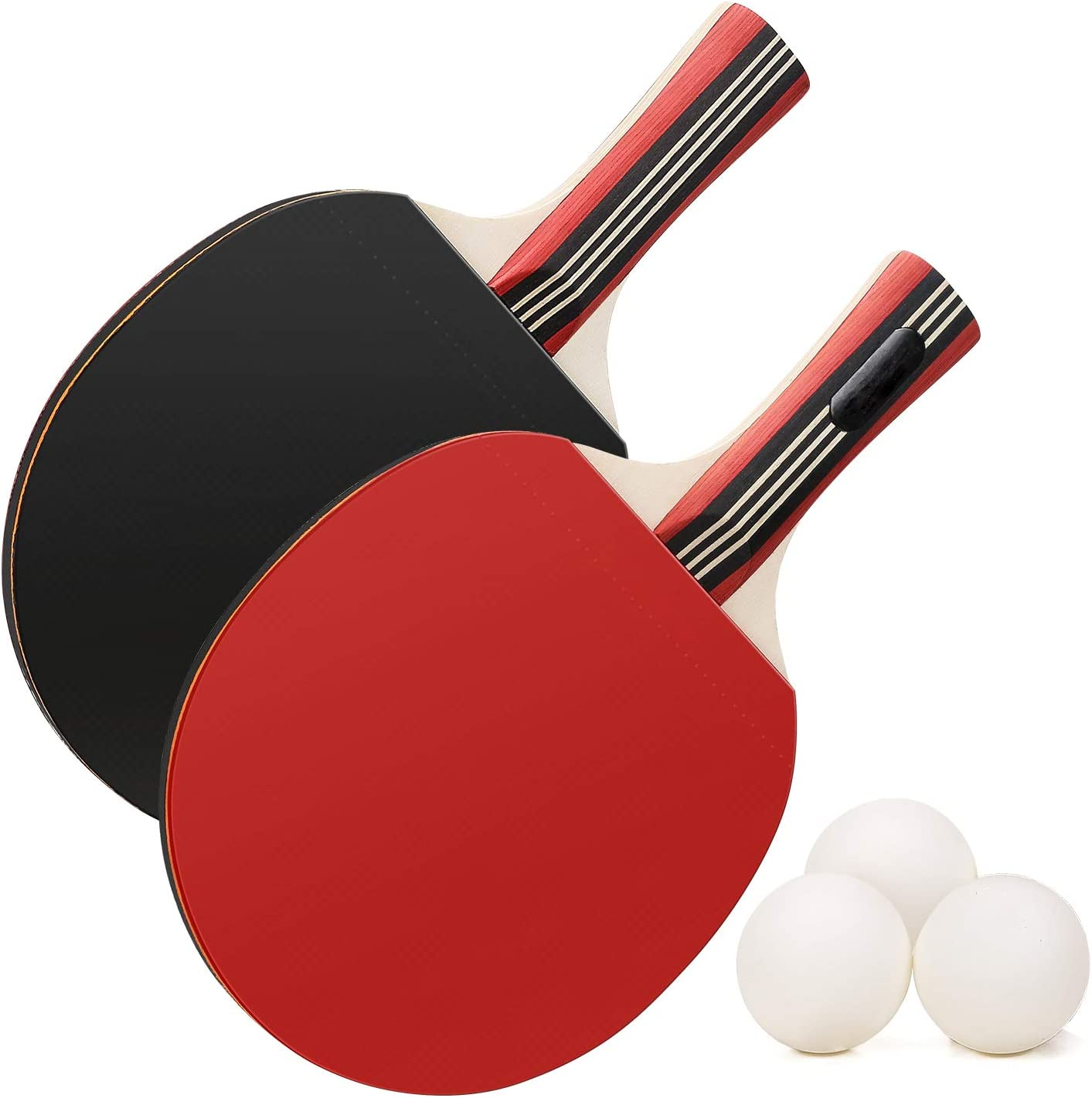 Toumett - Juego de raquetas de tenis de mesa y pelotas de ping pong, con bolsas de transporte, 2 palas y 3 pelotas (agarres de las manos)