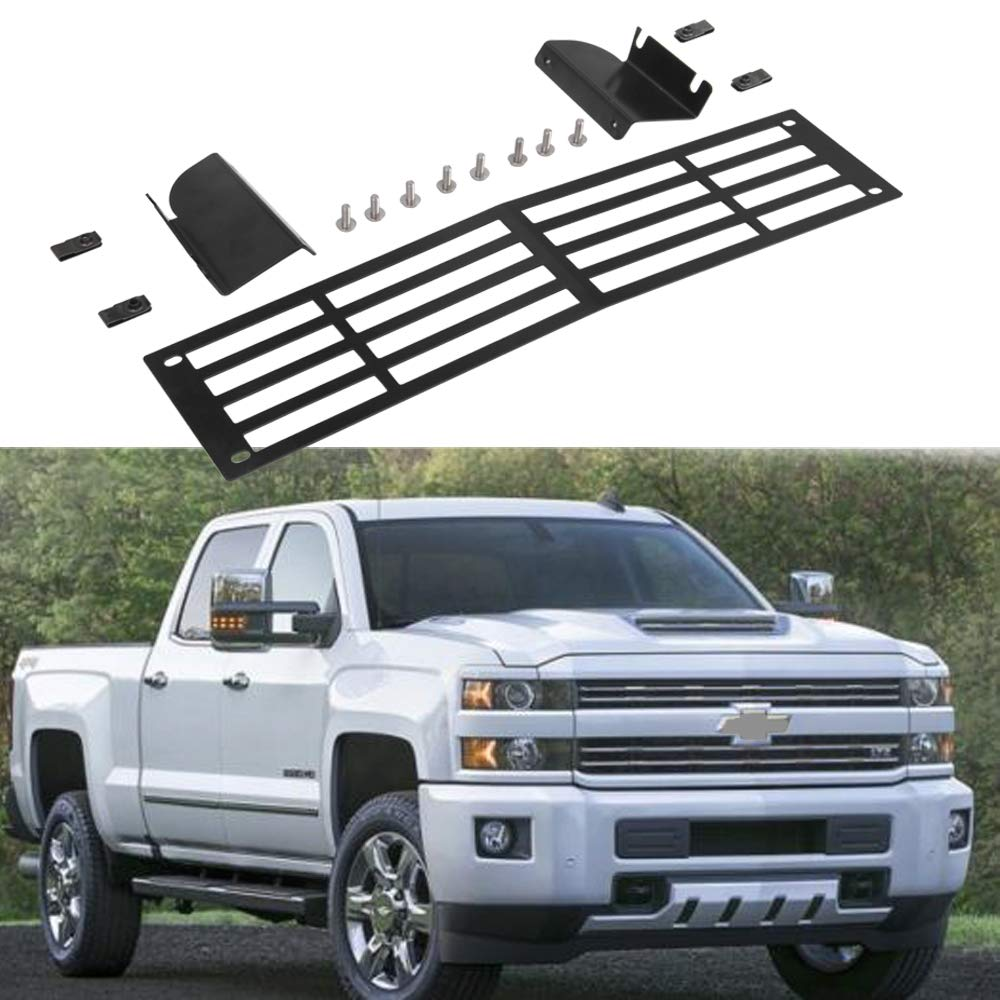 Hydraker Black Billet Bumper Grille Insert Fit for 2015-2019 Chevy Silverado 2500 3500 HD