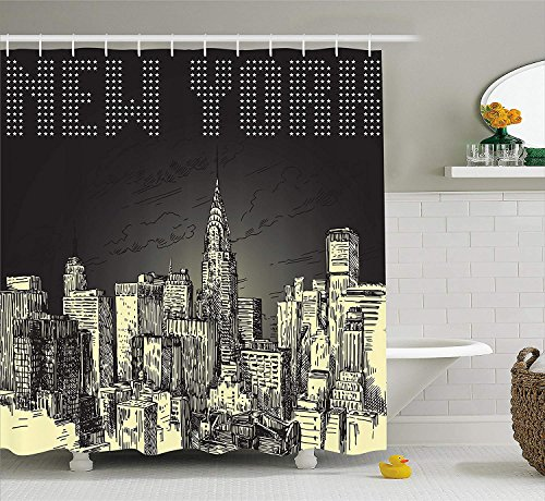 (luckyhome New York Shower Curtain, Grunge Pop Art Style Retro NYC Sky with Iconic Empire States Building City Print, Fabric Bathroom Decor Set with Hooks, 72Inches, Grey)