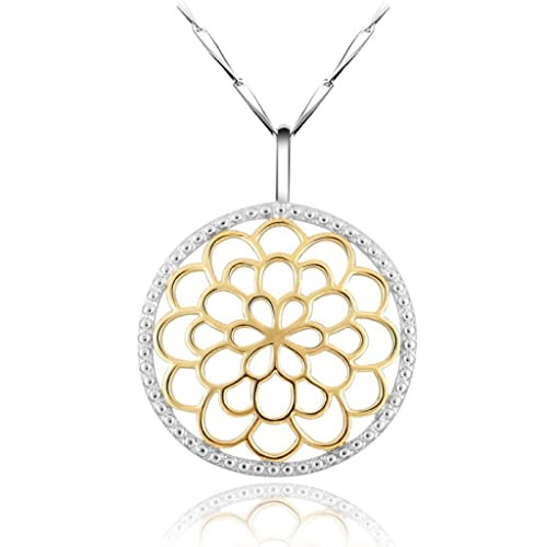 925 Sterling Silver and 18K Gold Bali Inspired Celtic Filigree Rould Floral Pendant Necklace