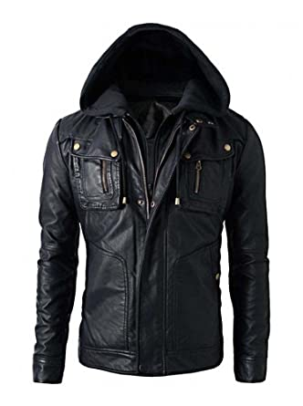 bc2a7ad33000 Superior Leather Garments Mens Slim Fit Hooded Biker Leather Jacket   Amazon.co.uk  Clothing