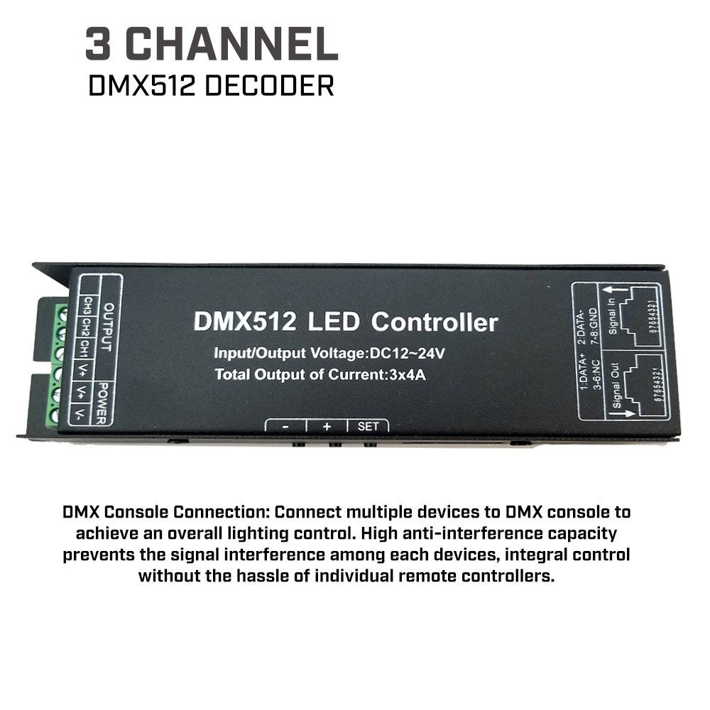 FarmerLED 3 Channel DMX512 LED Decoder for Lighting System & Light Strip Control, LED Light Converter