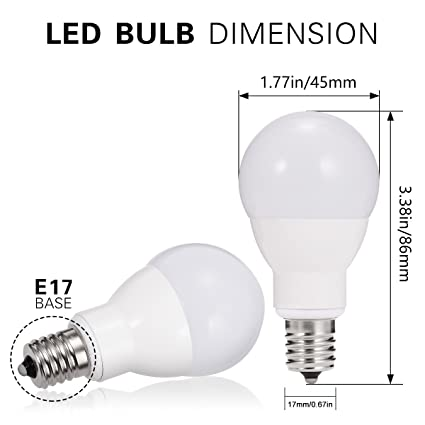 JandCase E17 Globe Light Bulbs, 40W Equivalent, 5W, 450 Lumens, Daylight White 5000K, Slender G14 LED Bulbs for Ceiling Fan, Headboard Reading Light, ...