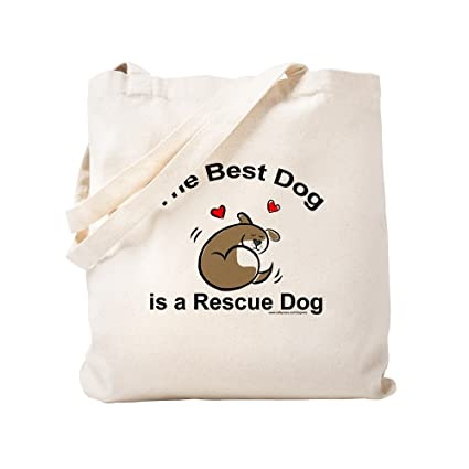fc9ee8d4f52 CafePress - Best Rescue Dog - Natural Canvas Tote Bag, Cloth Shopping Bag