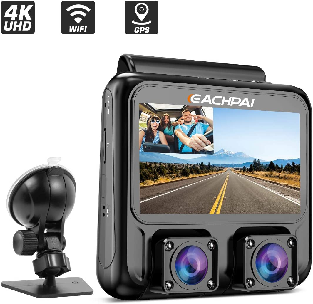 Car Dash Cam 4K EACHPAI X100 Plus Dash Cam Dual Single 4K Front/Dual 1080P,3'' Car Camera Dash Cam for Cars with WI-FI, GPS,IR Night Vision,Parking Mode,G-Sensor,Motion Detector,Loop Recording,WDR