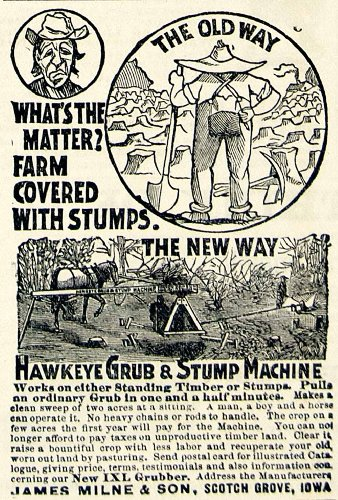 1893-ad-hawkeye-ixl-grub-stump-machine-james-milne-farm-machinery-timber-land-original-print-ad