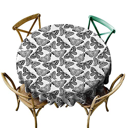 - White Tablecloth 36 inch Black and White,Monochrome Assortment of Butterflies Schaus Swallowtails and Birdwings,Black White Printed Indoor Outdoor Camping Picnic Circle Table Cloth