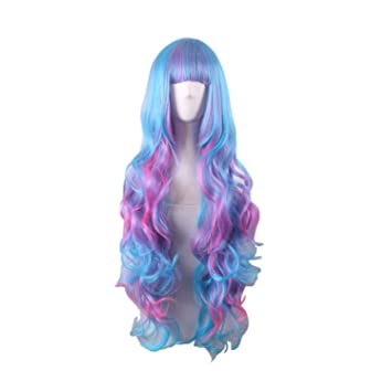 mixed color wigs women heat resistant rainbow wig long wavy wigs with bangs multicolour wig multi