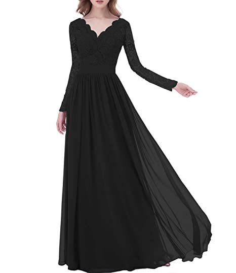 Elegant V Neck Lace Formal Evening Gowns Long Sleeves Bridesmaid
