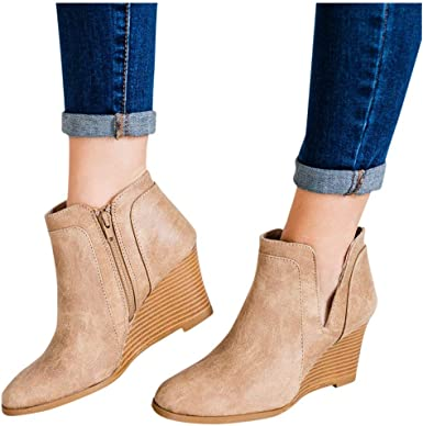 Women Wedge Heeled Ankle Boots Wide
