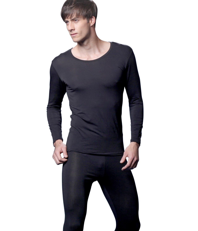 Giam Vico2 Feelvery Men's Natural Soft Tencel Long Johns Top & Bottom Thermal Underwear Set (X-Large, Black)