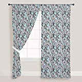 AZ Abstract Geometric Door & Window Curtain Satin 4feet x 7feet; SET OF 3 PCS