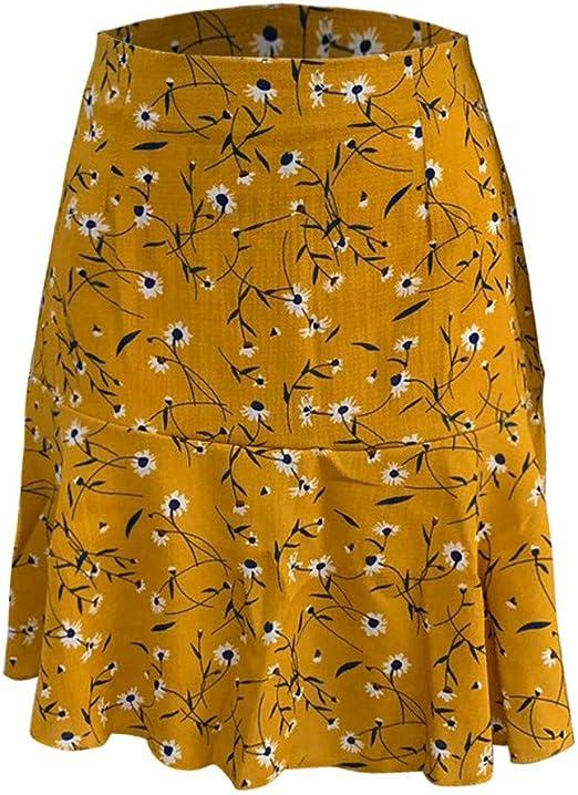 Falda de Volantes Ajustadas con Estampado de una línea de Verano ...
