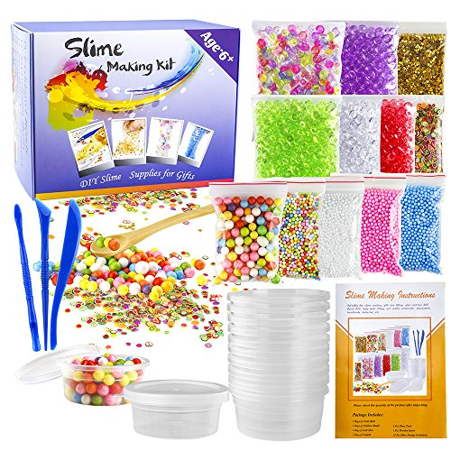Horn Beads Golden Horn (OPount 15 Pack Making Kit for Slime Including Fishbowl Beads, Foam Balls, Foam Ball Storage Containers, Confetti, Fruit Slices and Instructions for Slime Making Art DIY Craft(Not Contain Slime))