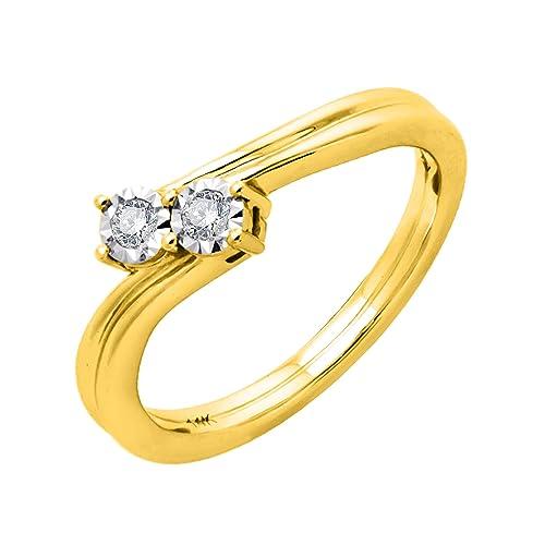 IGI certificado diamante pave conjunto anillo de compromiso en oro de 14 K (1/10 quilates): Amazon.es: Joyería