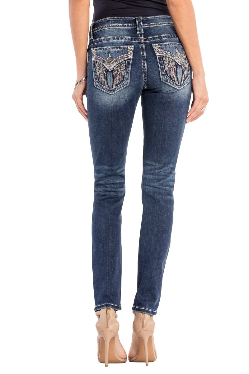 Miss Me Cherish The Moment Angel Wings Embellished Skinny Jeans M3040S Extended Size 32 33 34 (Medium Blue, 31)
