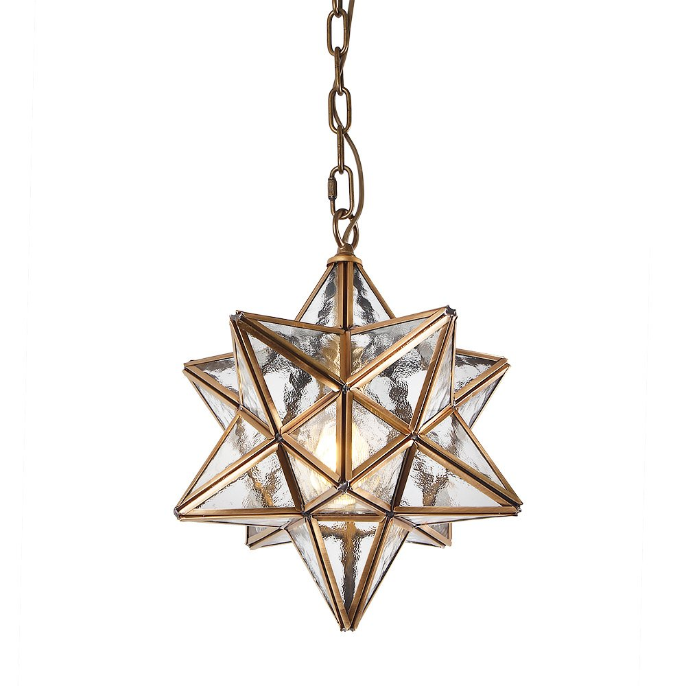 Eumyviv Moravian Star Pendant Light with Textured Ripple Glass Cover, Vintage Chandelier Lamp Rustic Industrial Edison Hanging Light Retro Ceiling Light Fixture 1-Light, Brassy (P0024)