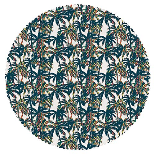 iPrint Unique Round Tablecloth [ Palm Leaf,Vintage Pattern with Trees Colorful Design Elements Exotic Dreamy Hawaii Decorative,White Black Red ] Tablecloth Design