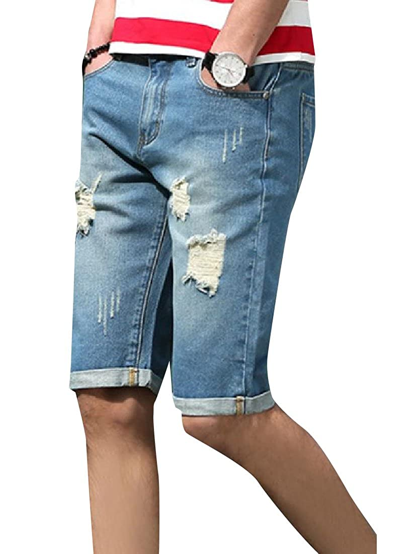 Comaba Men High Street Broken Hole Slim-Tapered Mid Waist Jean Short