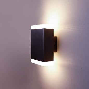 Nbhanyuan Exterieure Acier 220 Led Up 9w 3000k Down Murale Applique Lampe 240v Lighting® Inoxydable Noir Luminaire Extérieure Chaud Blanc 1000lm IWED2H9