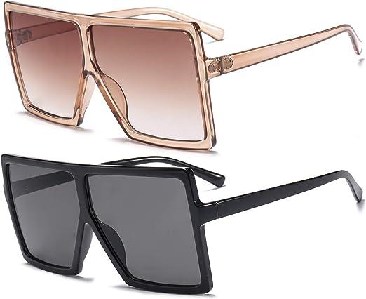 Dollger Square Oversized Sunglasses for Women Men Fashion Big Black 70s Sunglasses Shades