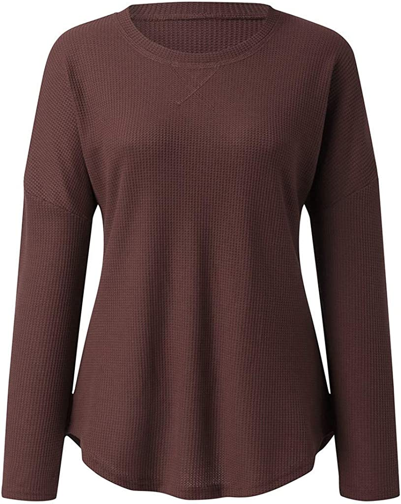JOYFEEL Womens Casual Crew Neck Long Sleeve Shirts Solid Color Knitted Pullover Blouse Tops for Fall Winter