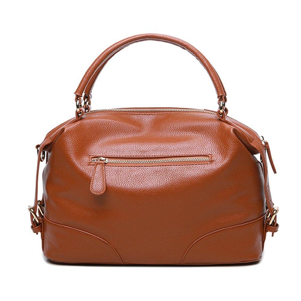 Brown Sunmiao Simple Retro Zip Litchi Pillow Pillow PU Shoulder Bag Messenger Bag