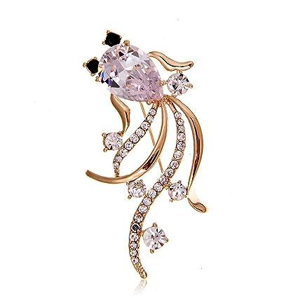 Womens Elegant Temperament Fashion Zircon Goldfish Brooch Pin