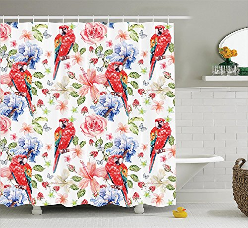 [Parrots Decor Shower Curtain Set Pastel Colored Parrots with Iris and Roses on Berry Background Retro Inspired Romantic Image Bathroom Accessories] (Parrot Costume Ebay)
