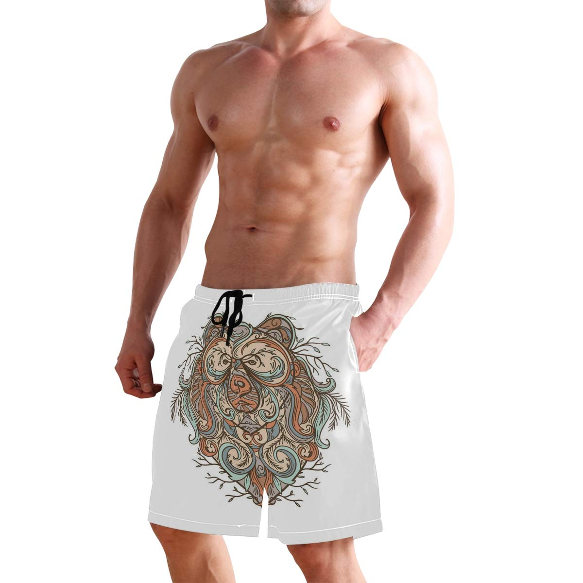 COVASA Mens Summer ShortsHighly Detailed Bear Figure with Abstract Floral Orna