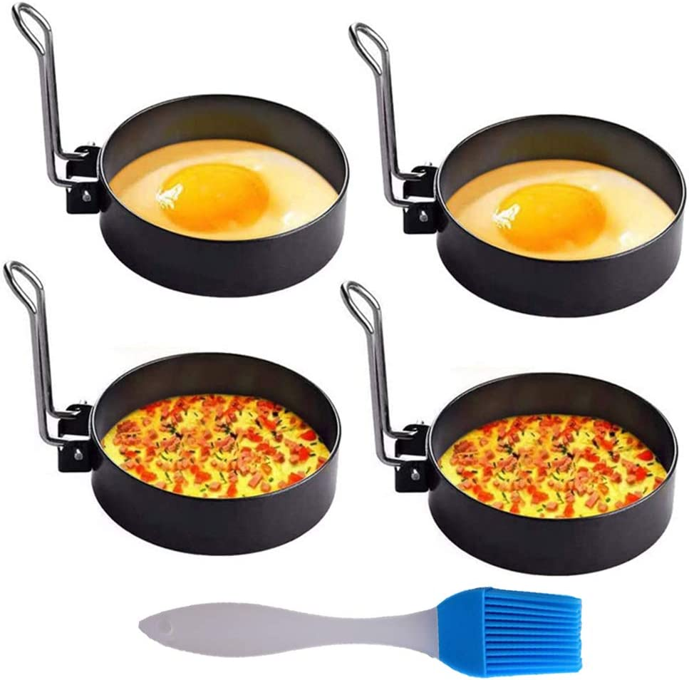 4Pack Egg Ring,Professional Stainless Steel Egg Ring for Frying Or Shaping Eggs,Non Stick Round Egg Cooker Rings for Cooking Egg Maker Molds for Breakfast Fried Egg McMuffin Sandwiches Cooking Tool