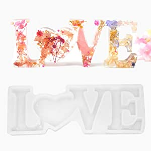 Dualshine 3D Love Letter Resin Mold, Silicone Mold Casting for DIY Craft,Table&Home Decor