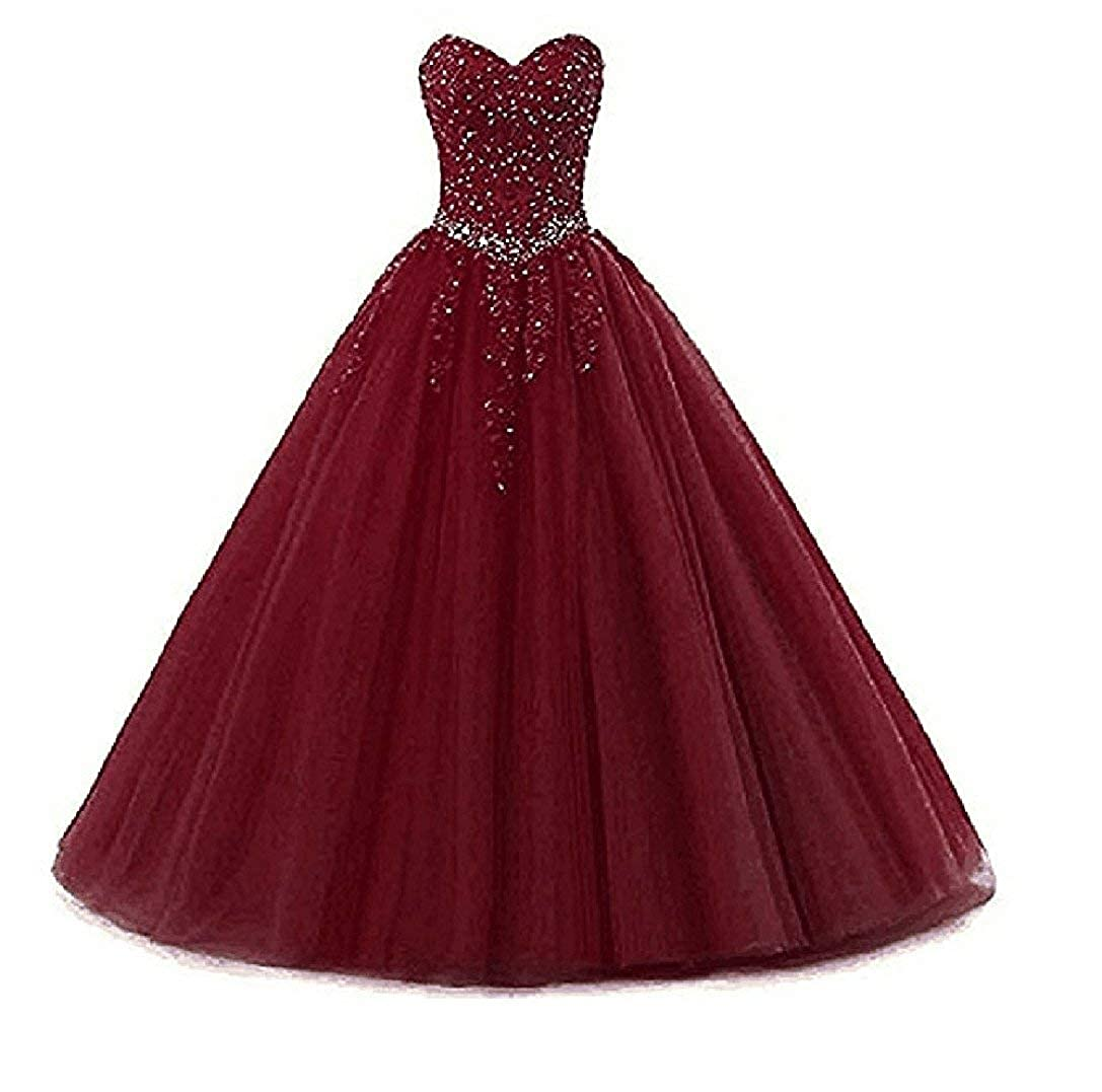 Style2burgundy Liaoye Women's Sweetheart Appliques Quinceanera Dress Tulle Wedding Ball Gown