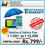 Warranty Plus 1 Year Extended Warranty on all Mobiles & Tablets Price Range (7001 to 12000)