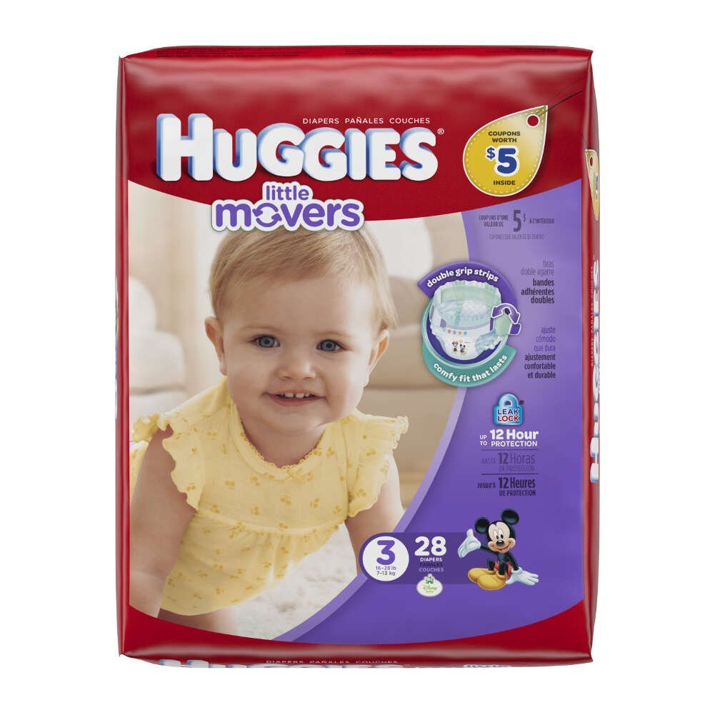 Huggies Little Movers Diapers Jumbo, Size 3, 16-28 lbs, 40766 (Case of 112)