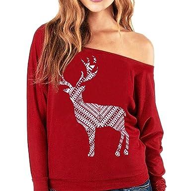 08178859c1f7 TianWlio Weihnachten Pullover Langarmshirt Bluse Hoodie Frauen Herbst  Winter Weihnachten Deer Langarm Sweatshirt Bedruckt Pullover Tops