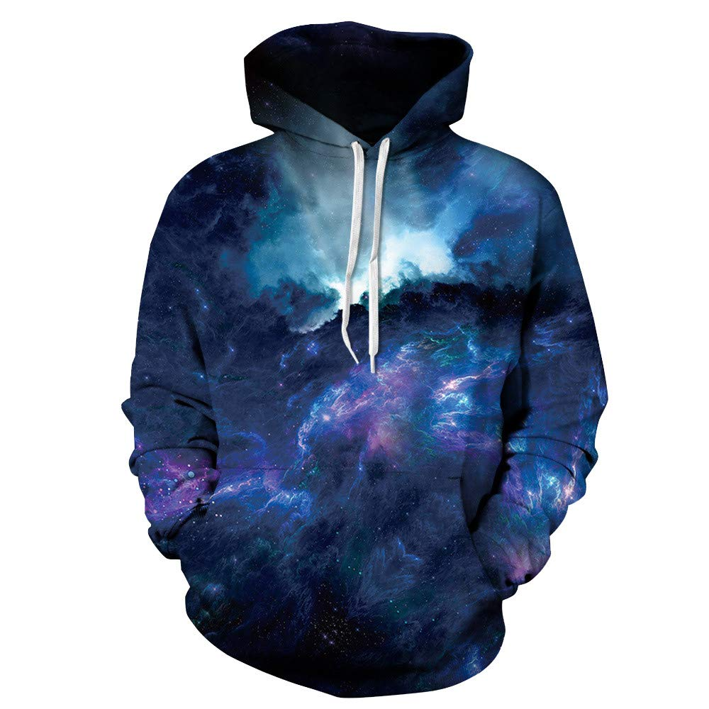 Amazon.com: Unisex 3D Galaxy Print Sweatshirts Hooded Pullover Colorful Pullover Shirt Blouse Tops Sweatshirt Hooded Jacket ...
