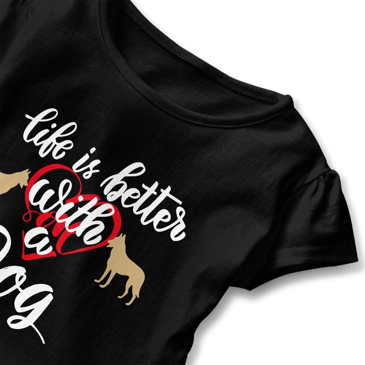 Vfbggg-Shirt Life is Better with A Dog Baby Girls Short Sleeve Ruffle Tee Cotton Kids T Shirts 2-6 Years