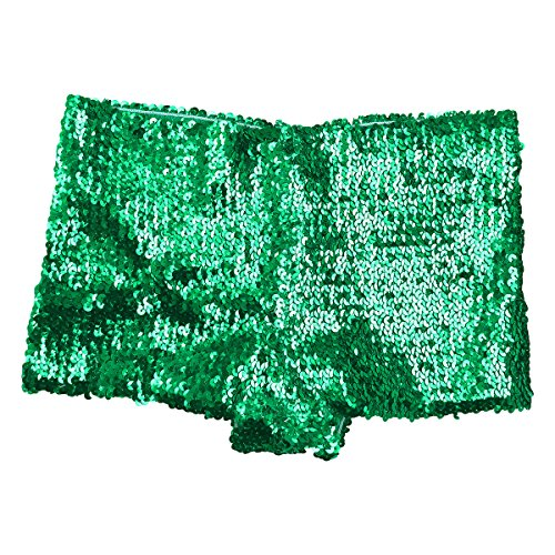- FEESHOW Women's Metallic Hipsters Rave Booty Dance Shorts (Green Glitter Sequins)
